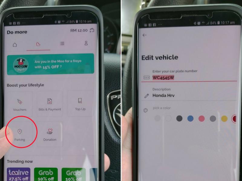 Hanya klik 'Parking' masukkan maklumat kenderaan.