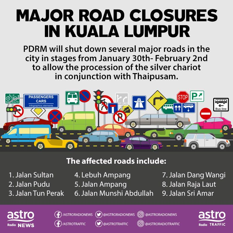 Senarai jalan yang akan ditutup.