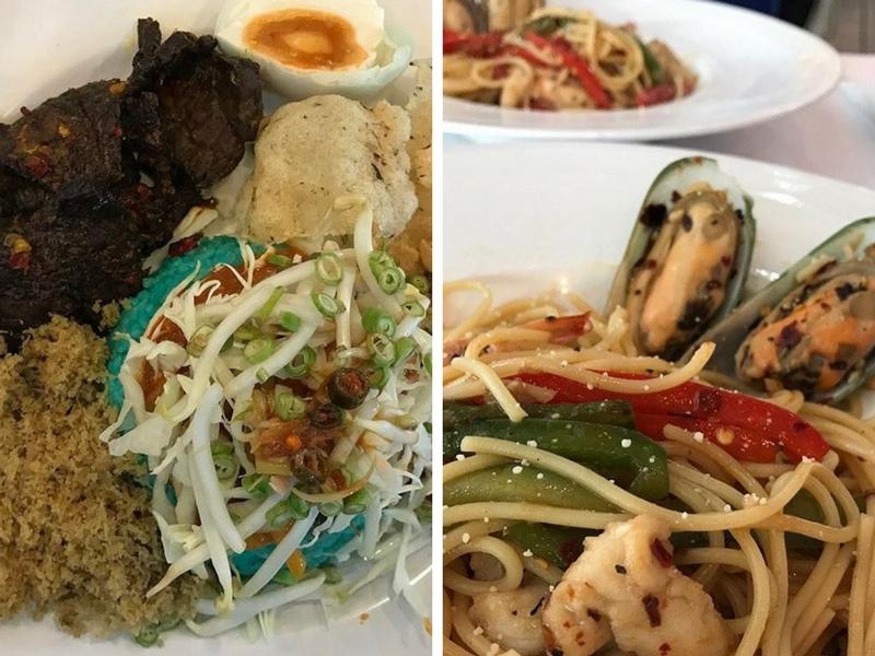 Gabungan antara menu tempatan dan barat.
