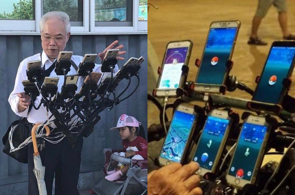 Mampu Lawan Atuk Ini? Main Pokemon Go Guna 11 Telefon Pintar