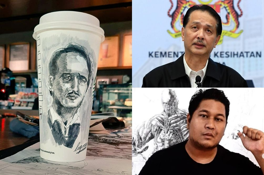 Autistic Artist Sketches Dr Noor Hisham's Face On Coffee Cup; Gets DG's Praise And Attention
