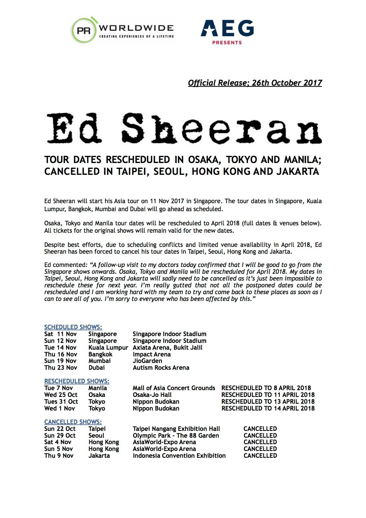 Ed Sheeran Has Confirmed That His Malaysian Concert Will Go On As