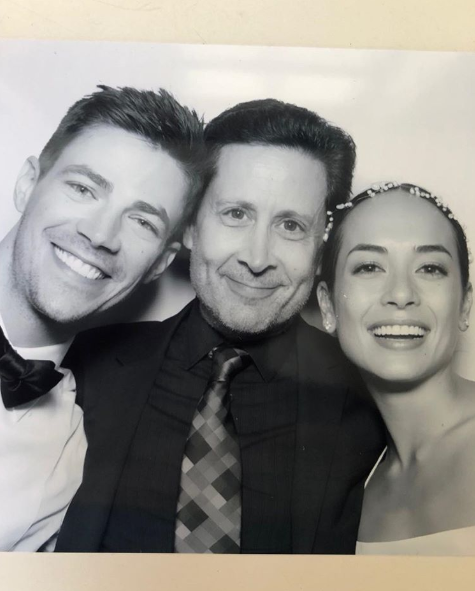 The bride and groom with Grant's manager.