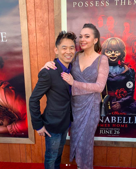 Wan and Bisu at the premiere of 'Annabelle Comes Home'