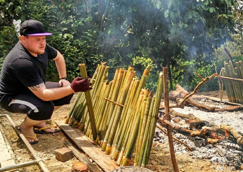 Even Rhys has attempted something we've never done before - cooking Lemang.