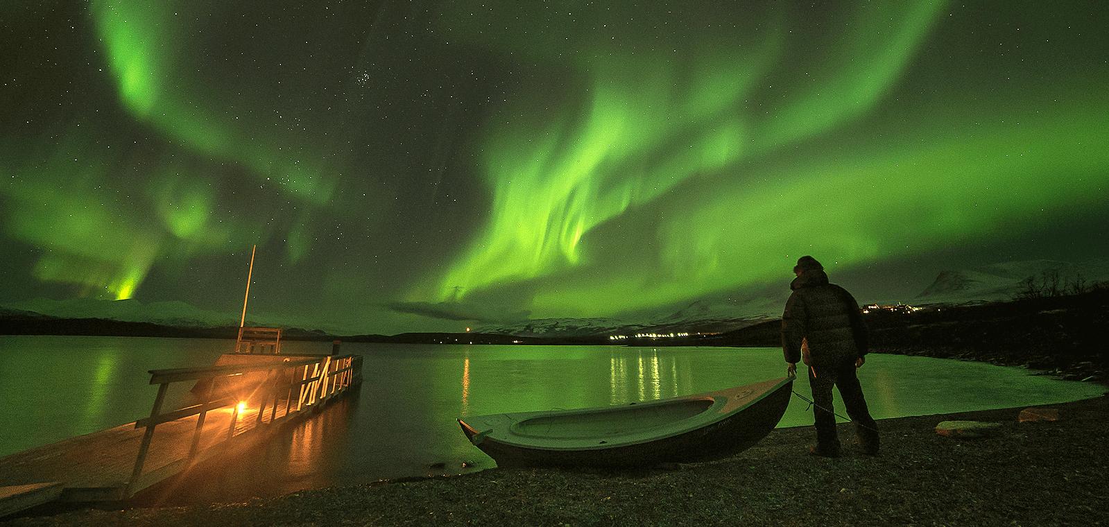 Such a majestic view of the Aurora Borealis in Abisko, Sweden.