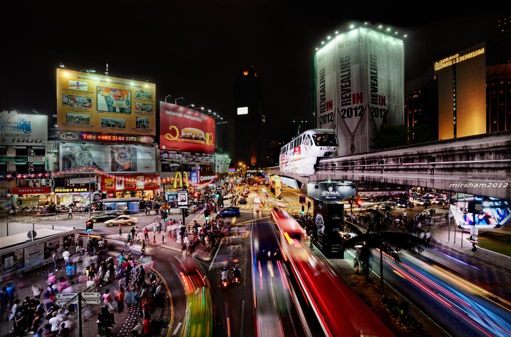 The lively Bukit Bintang at night.
