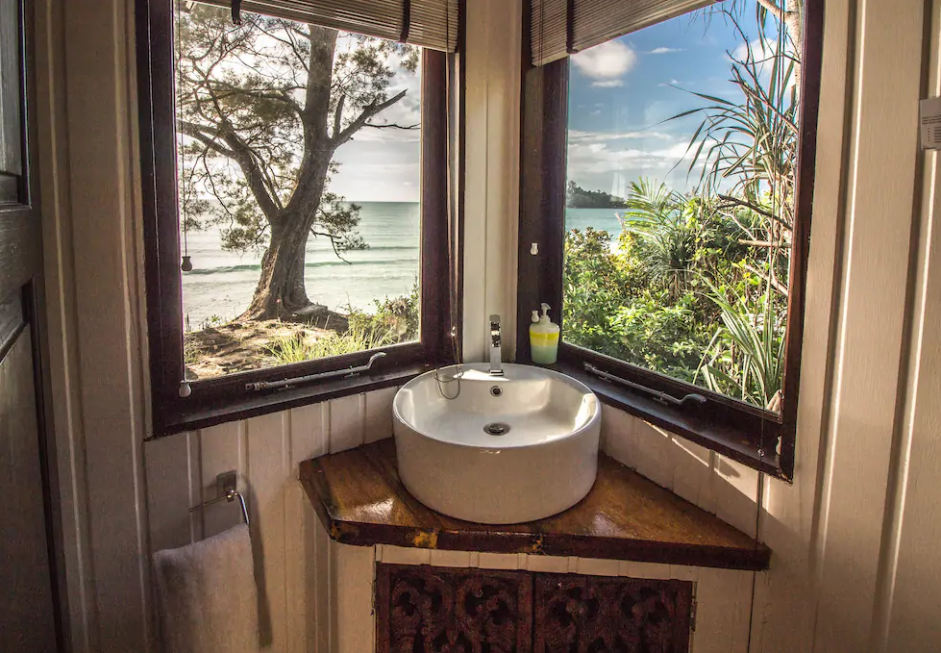 Even the bathroom has an amazing view.