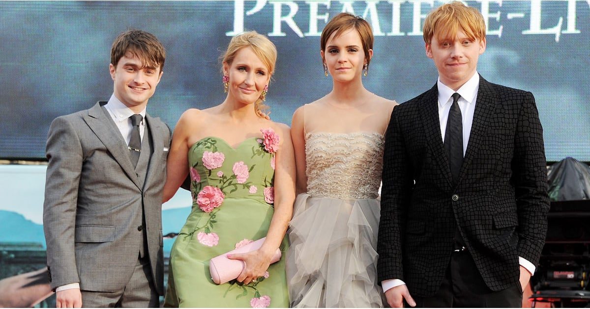 J.K. Rowling with the cast of 'Harry Potter'.