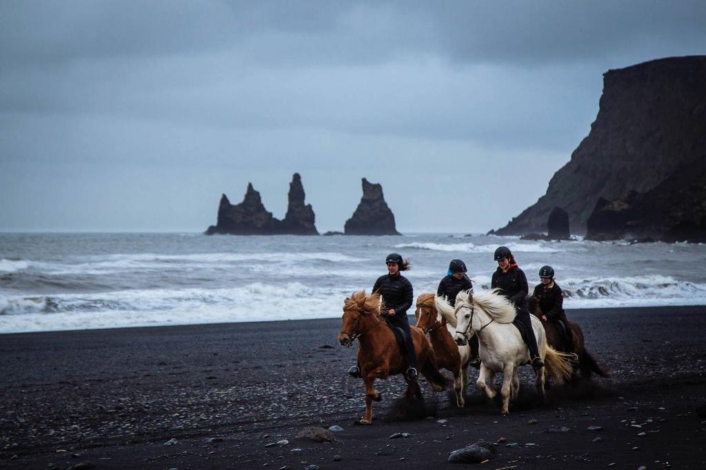 The iconic black sand beach.