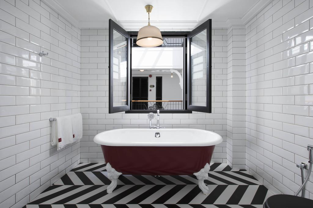 Wind down in this super cool bath tub at the end of the day.