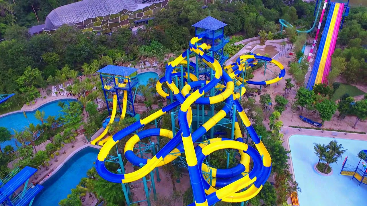 The current water slides available at Escape Theme Park.