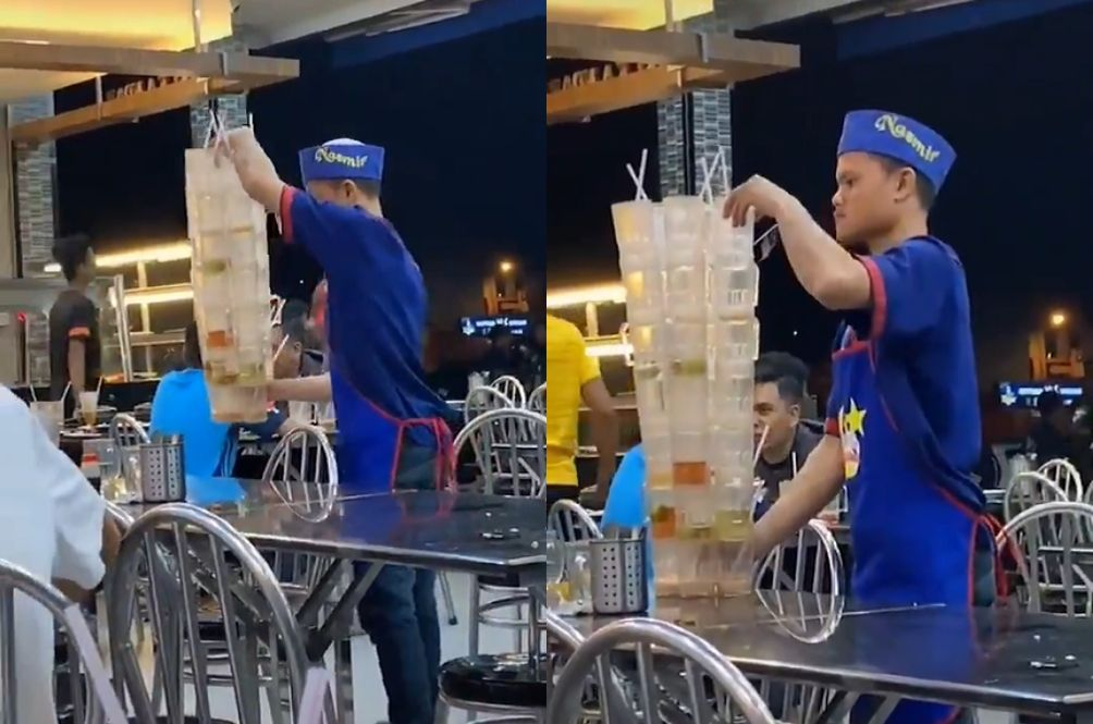 This Mamak Stall Worker's Cup-Stacking Skills In Kedah Will Blow Your Mind