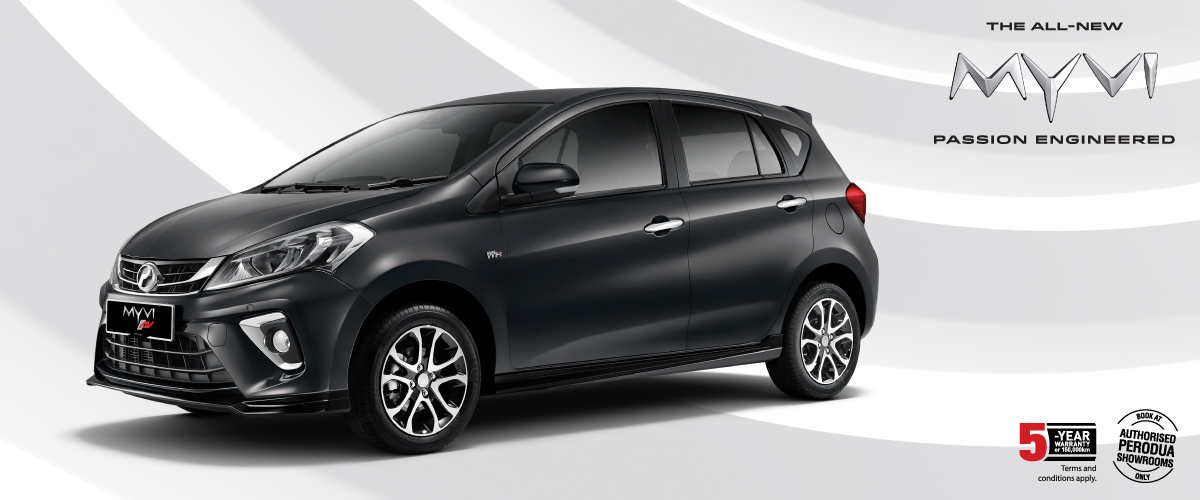 The sleek black Myvi.