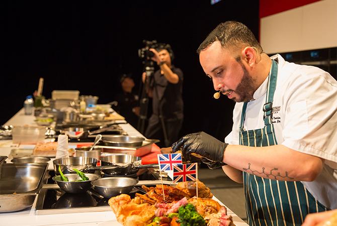 Chef Oscar Montelongo conducting the masterclass for Bread Street Kitchen.