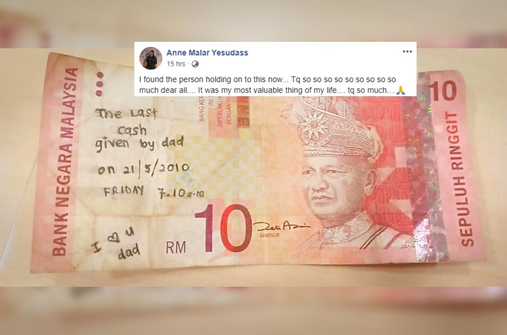 M'sians Finally Found The Owner Of RM10 Note That Has A Heartbreaking Note Written On It