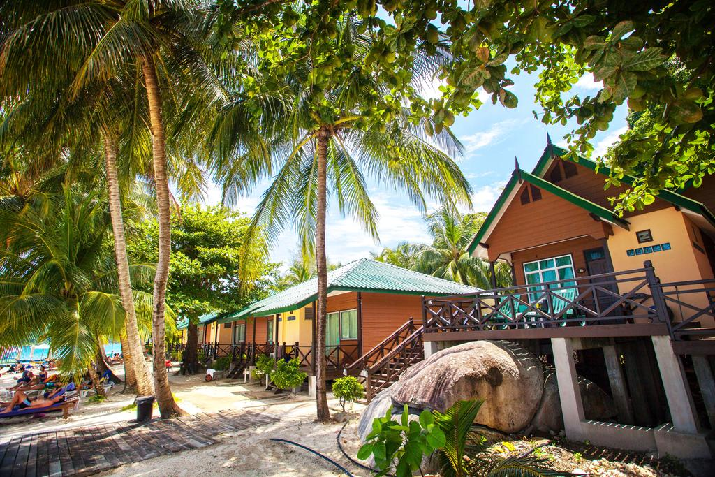 The shady coconut trees in front of the chalets are a great bonus!