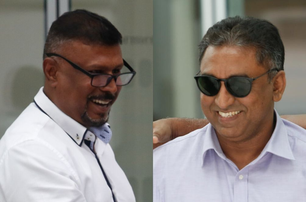 Anwer and Zackeer leaving the court after their hearing in March 2020.