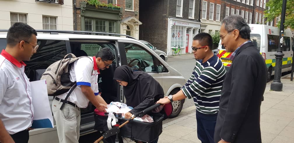 Baby Ainul and her family upon arrival in London.