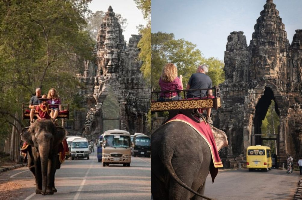 The infamous elephant ride at Angkor Wat.