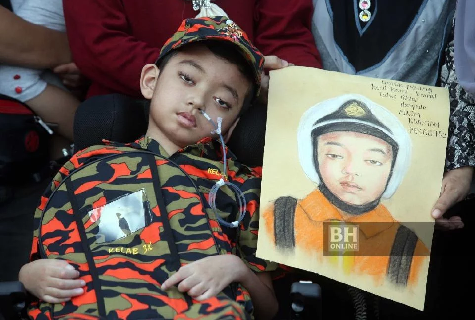 Danial's dream is to become a firefighter one day.