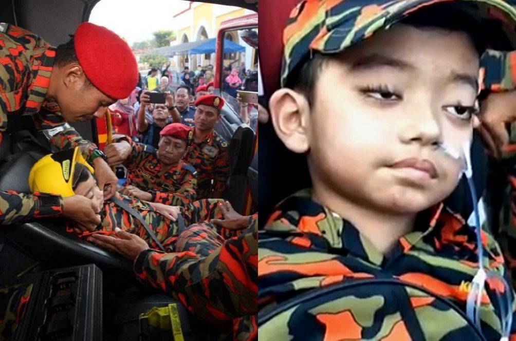 7-Year-Old Pahang Boy With Brain Cancer Gets To Fulfill His Final Wish As A Fireman
