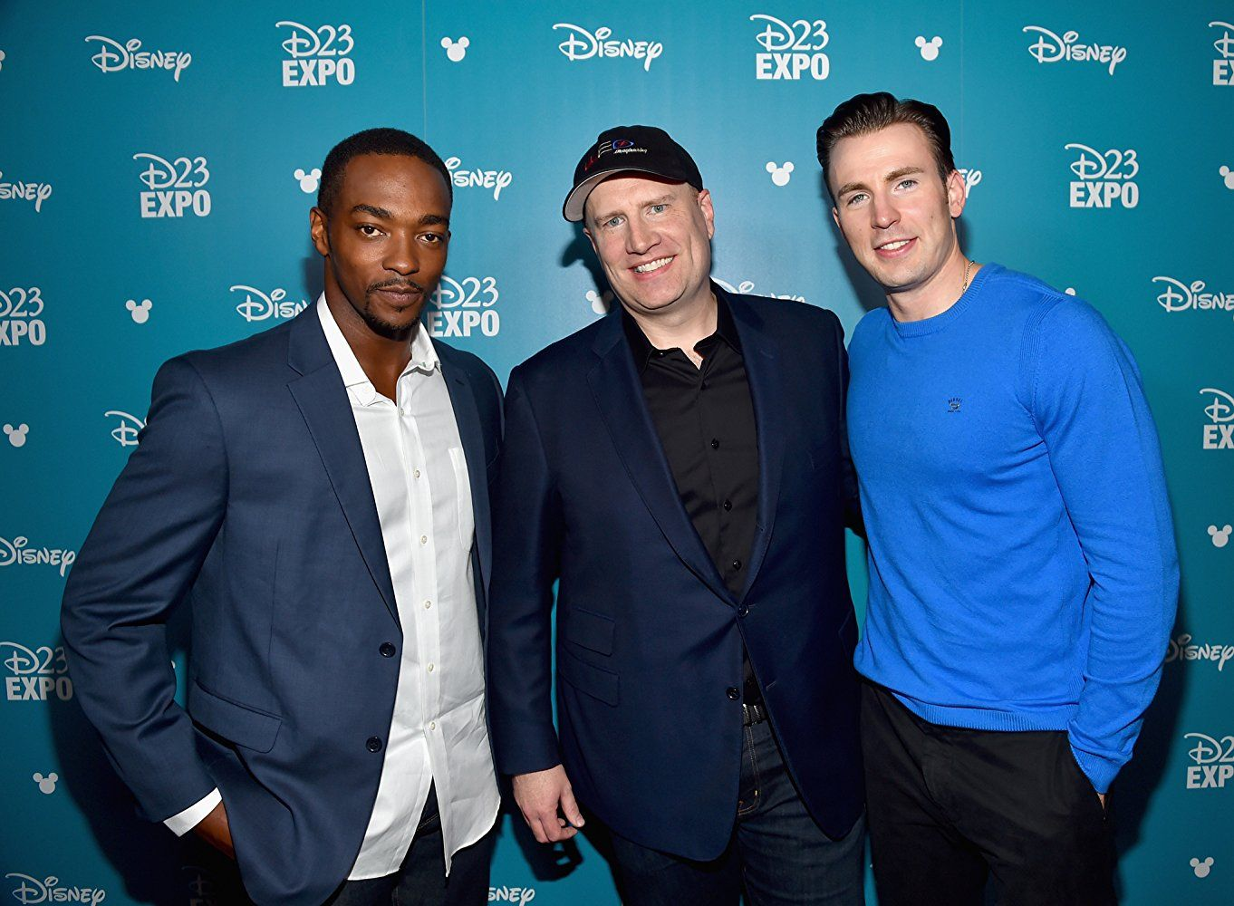 The new and OG Captain America with Kevin Feige.