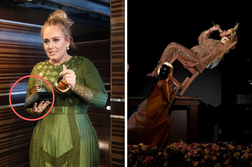 2017 Grammys: Pregnant Beyoncé Almost Fell Off A Chair, Adele Snaps Award Into Two