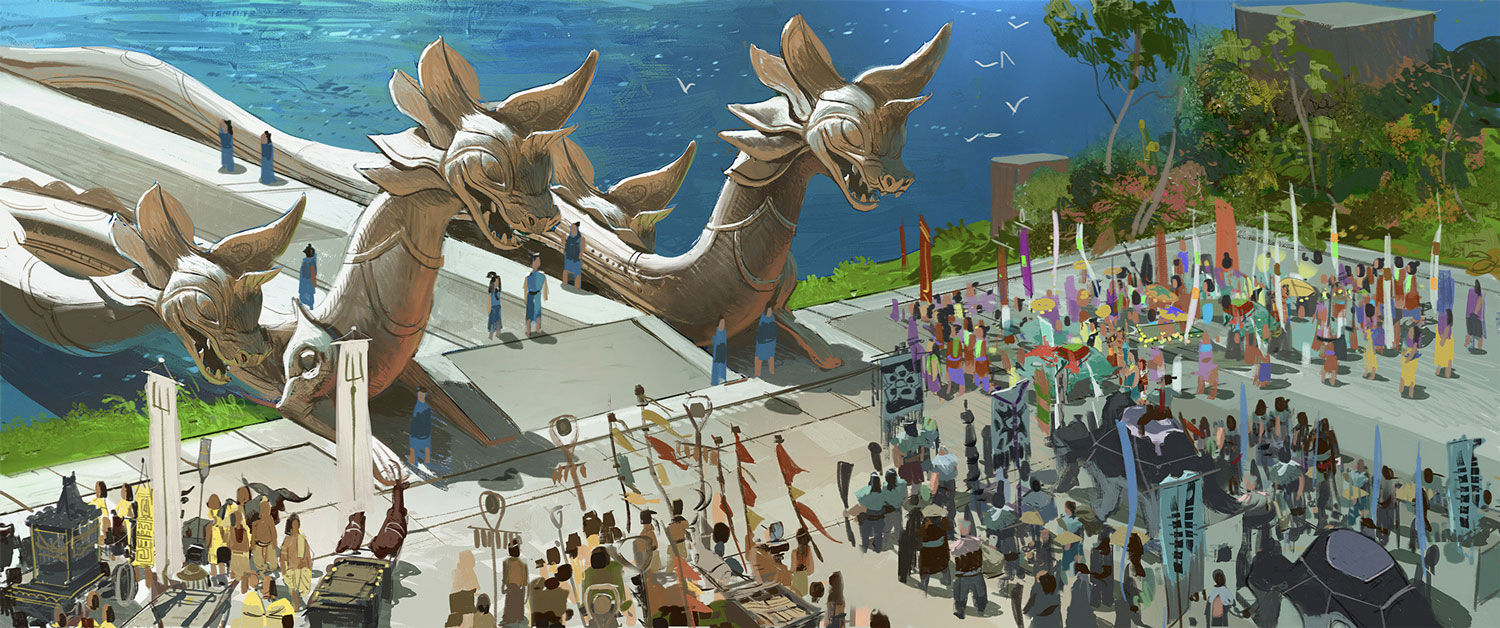 Dragons are central to the design of Heart, taking inspiration from Southeast Asia, where sacred beings are venerated through physical representations and imagery. On the Heart Bridge, dragon statues made of karst limestone connect the Heart Lands to the rest of Kumandra.