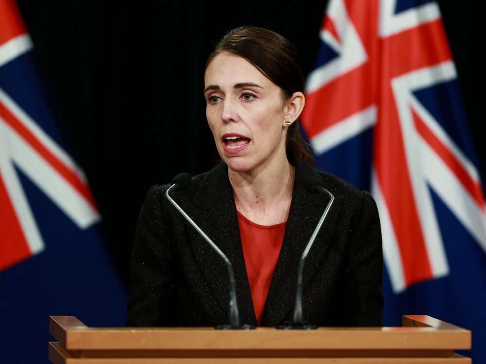 Jacinda Ardern during a press conference after the gun attack.