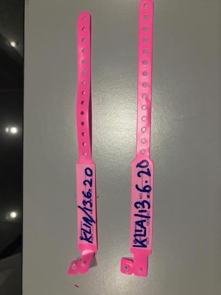 The viral pink wristband.