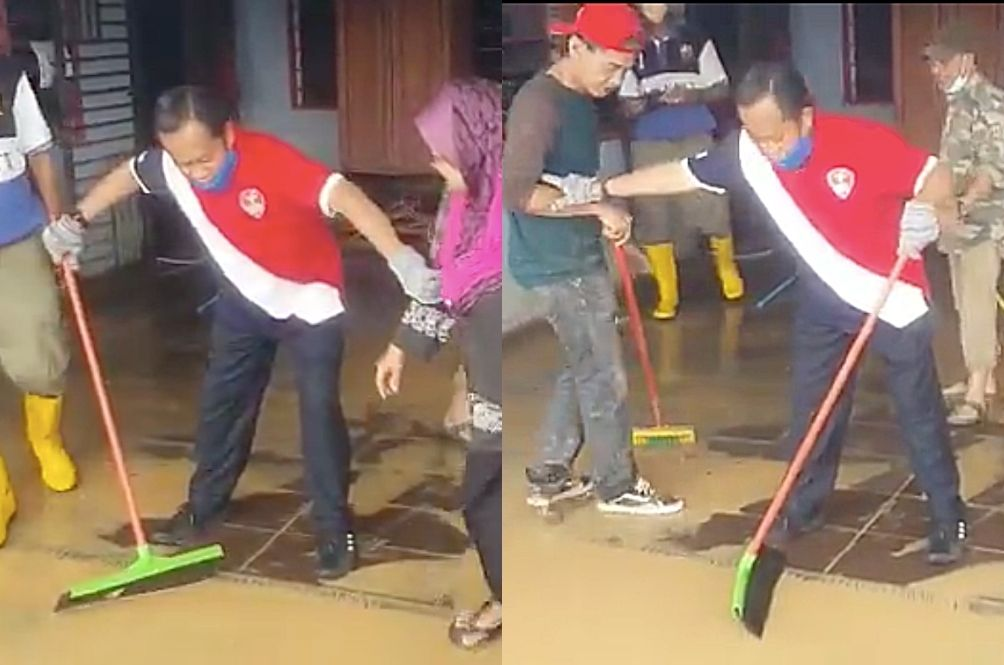 [VIDEO] Netizens Are Cackling Over Ahmad Maslan's Attempt At Cleaning This Flood Victim's House