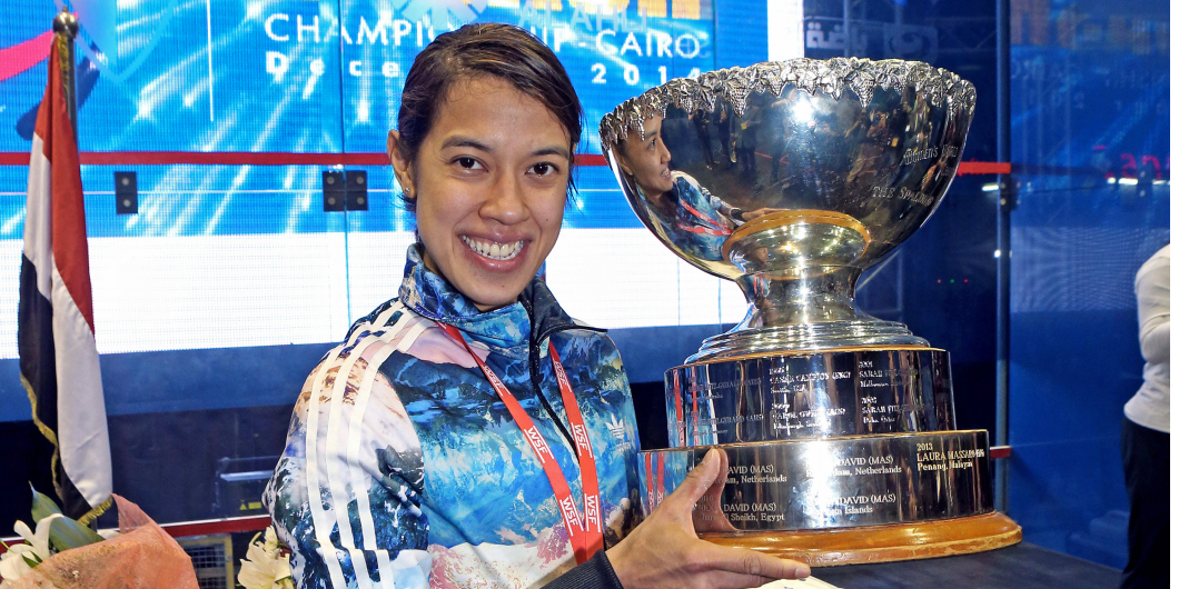 Nicol winning her eighth world title.