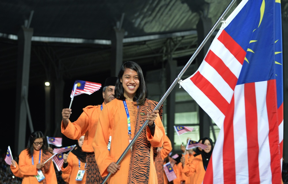Nicol leading the Malaysian contingent during the opening ceremony of the 2014 Asian Games.