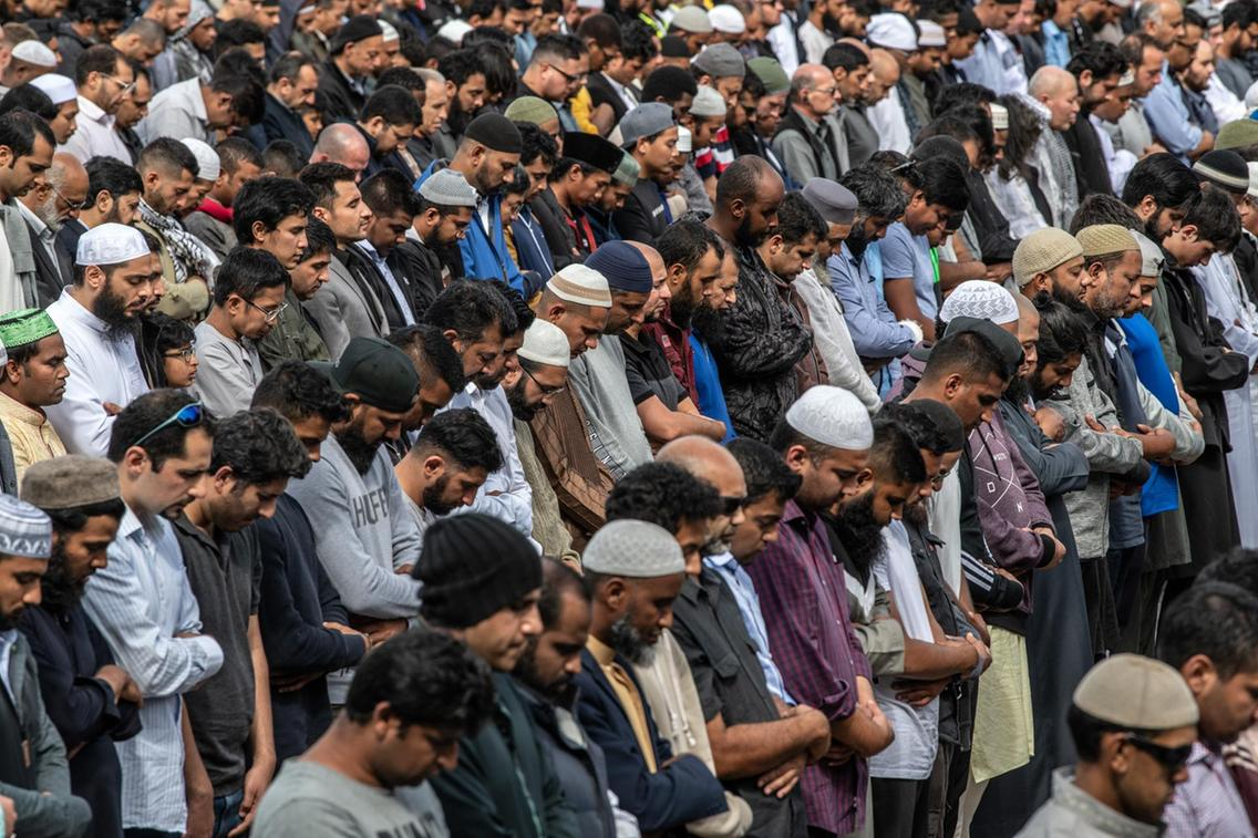 Muslims at the Friday prayers post one-week after the attack.