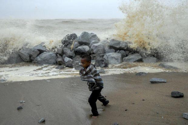 High waves at the east coast of Terengganu.