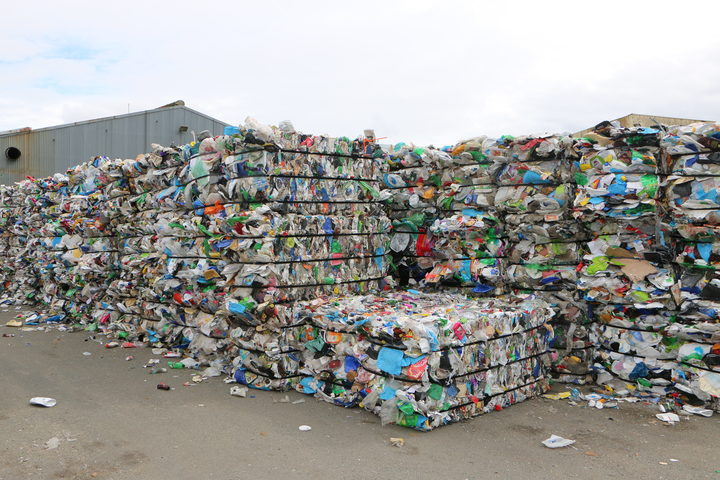 Plastic waste from the UK ready to be exported.