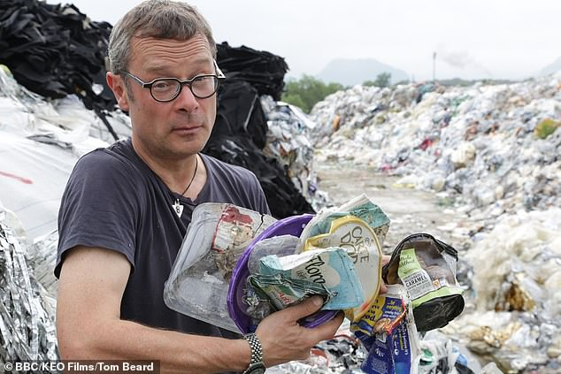 Among the plastic waste Hugh finds at the wasteland.
