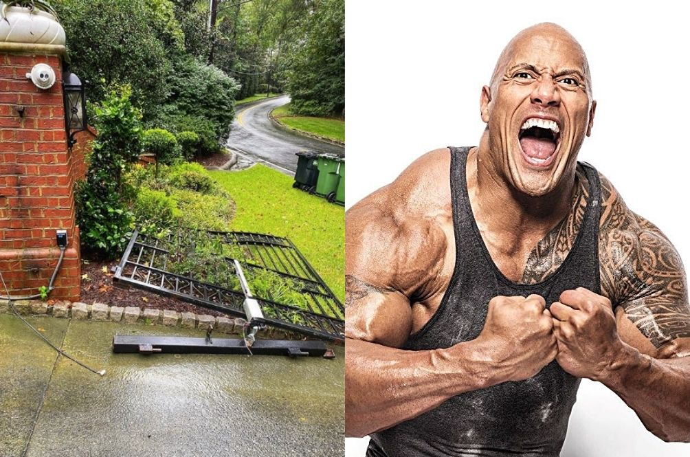 The Rock Rips Off House Gate With Bare Hands To Get To Work After It Malfunctioned