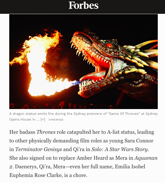 Screenshot of the Forbes' article.