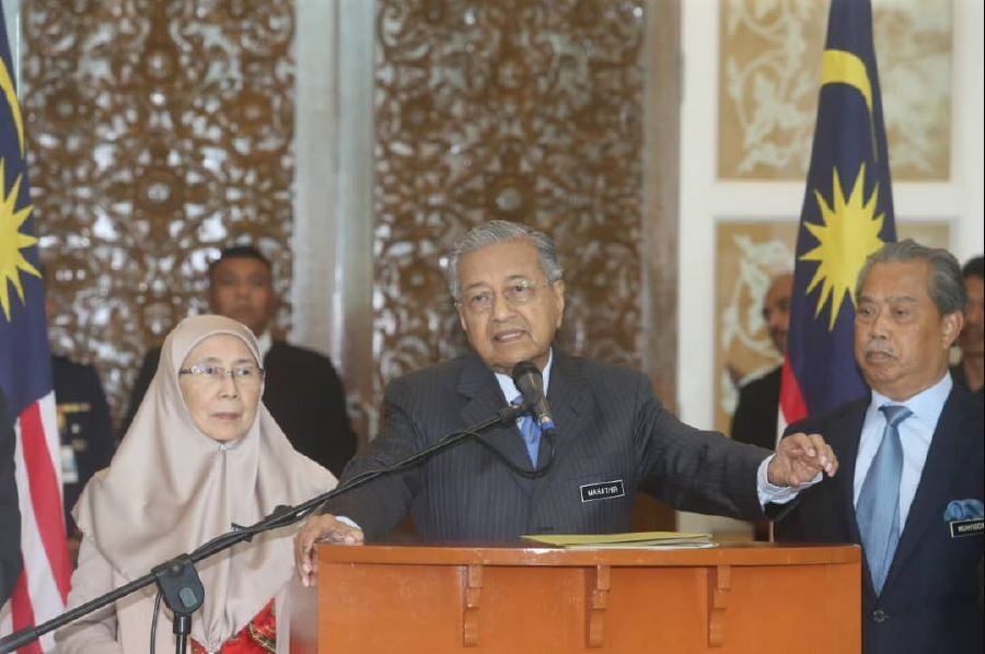 Tun M during the press conference on Wednesday.