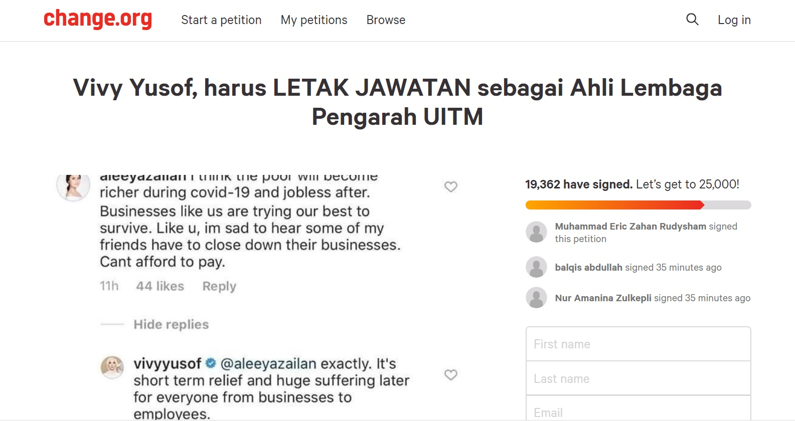 The now-deleted infamous petition.