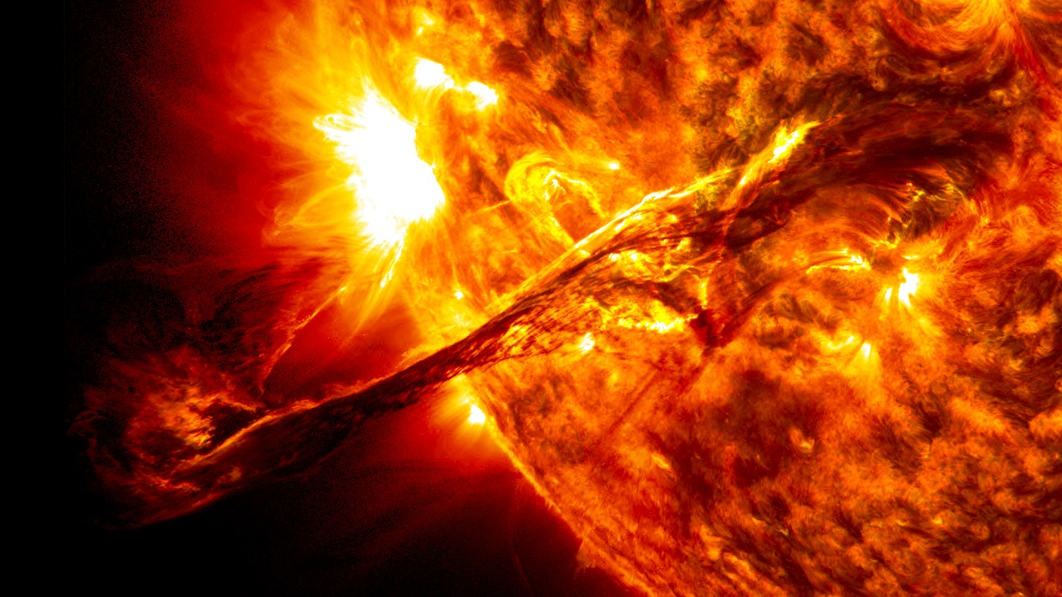 Example of a solar storm occurring.