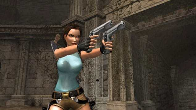 Lara Croft never shoots at anyone with her guns, only around or near someone.