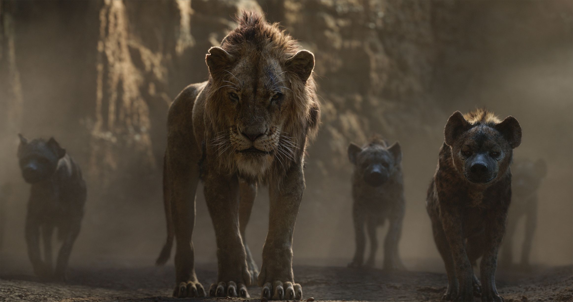 Scar and his menacing hyenas.