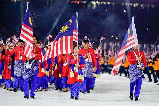 The Malaysian contingent at the opening ceremony of Kuala Lumpur 2017.