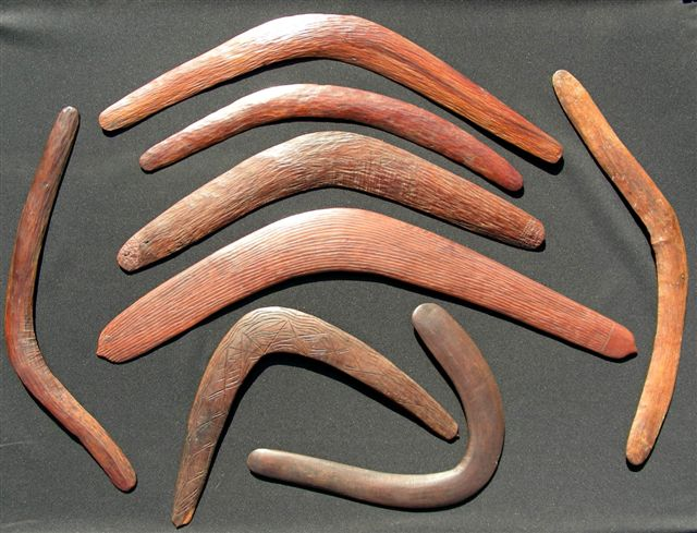Boomerangs were traditionally used as weapons for hunting.