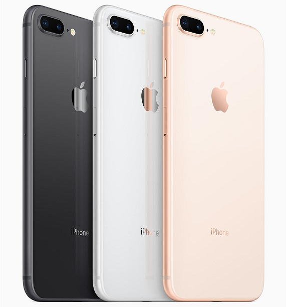 The iPhone 8 and 8 Plus are available in 64GB and 256GB.
