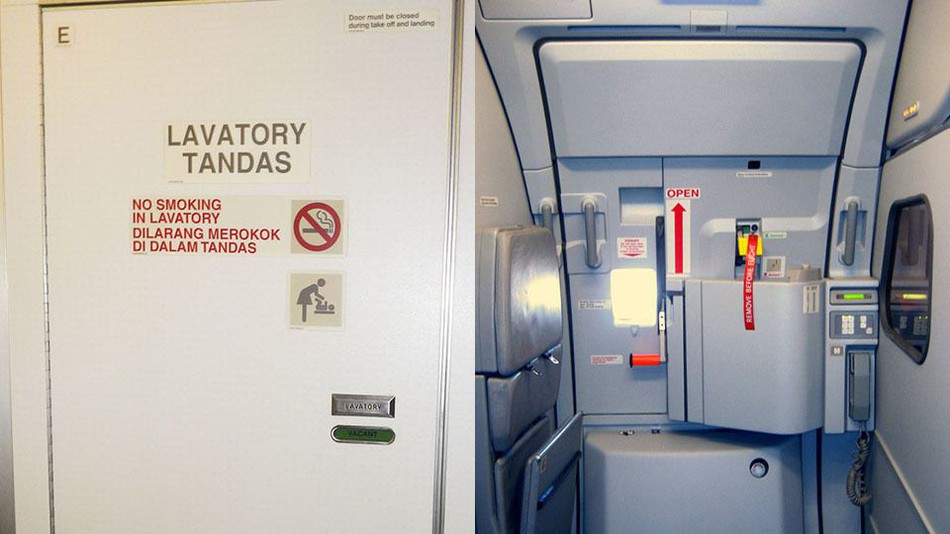 There is also nothing to keep you in place in the lavatory if an emergency happens, like seat belts.