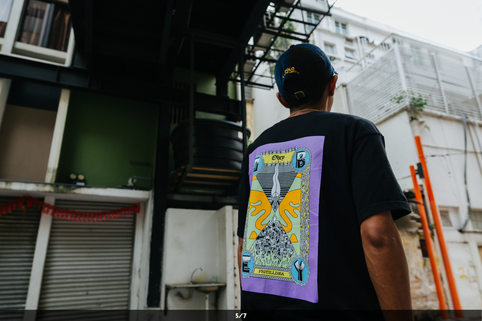 FriTillDea sports an OBEY Clothing x FriTillDea t-shirt; he's the first Malaysian artist to have collaborated with the streetwear giant.